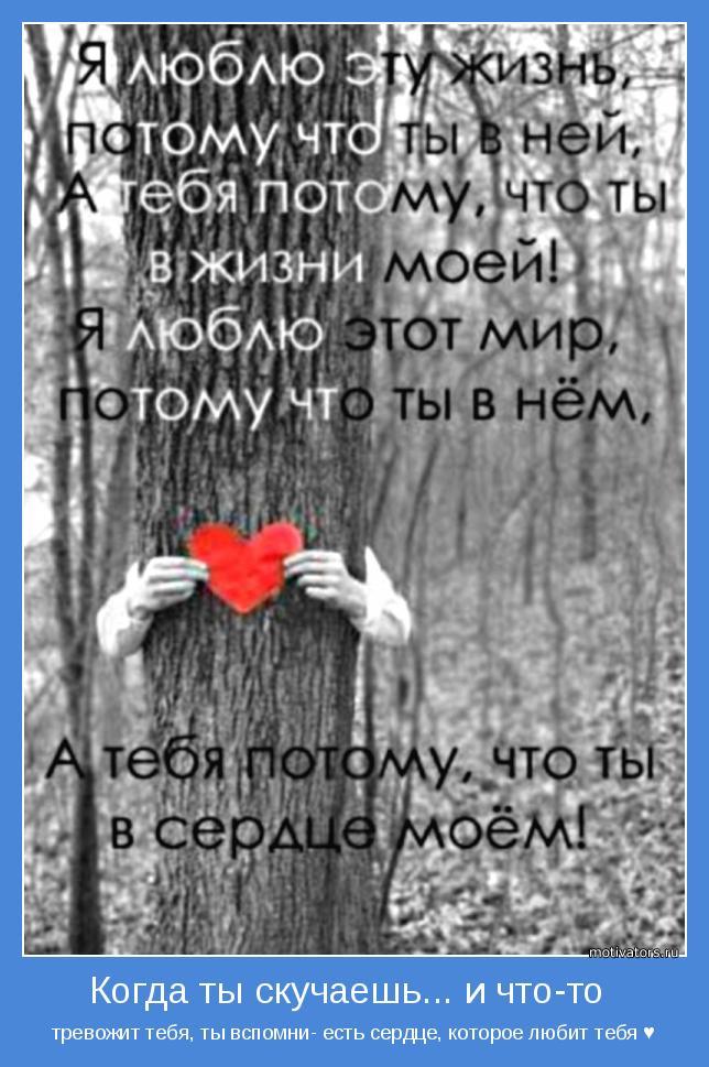 тревожит тебя, ты вспомни- есть сердце, которое любит тебя ♥