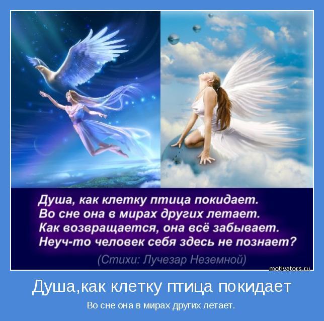 Во сне она в мирах других летает.