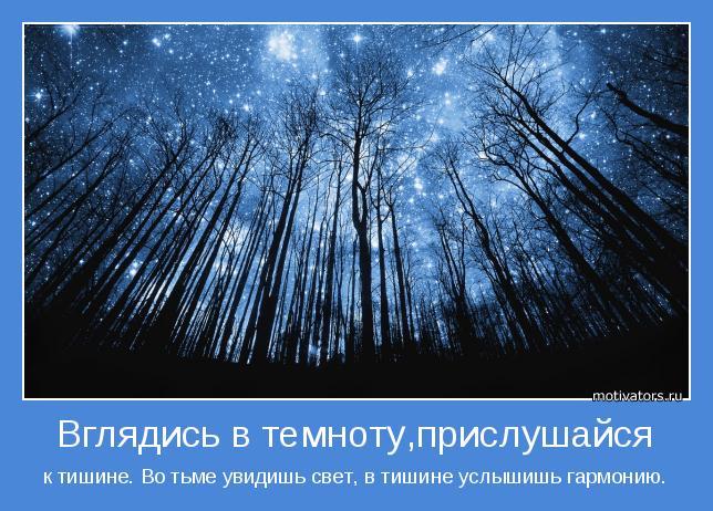 к тишине. Во тьме увидишь свет, в тишине услышишь гармонию.