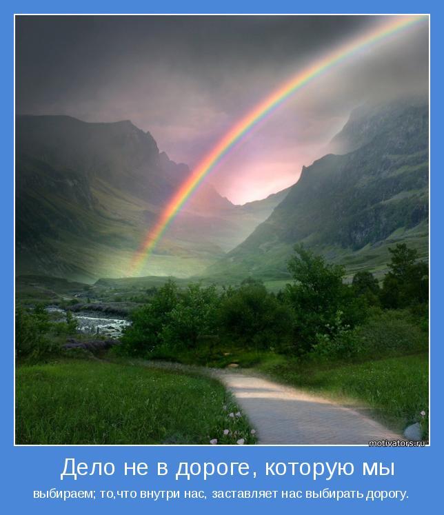 выбираем; то,что внутри нас, заставляет нас выбирать дорогу.