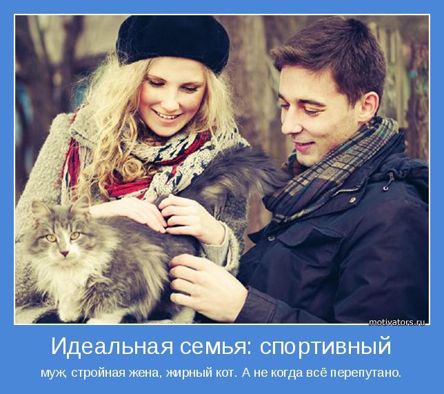 муж, стройная жена, жирный кот. А не когда всё перепутано.