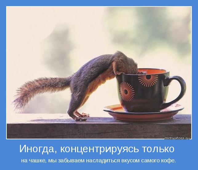 на чашке, мы забываем насладиться вкусом самого кофе.