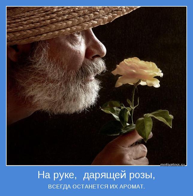 На руке дарящей розы всегда останется их аромат