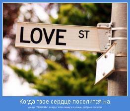 """улице """"ЛЮБОВЬ"""", вокруг тебя окажутся, лишь, добрые соседи."""