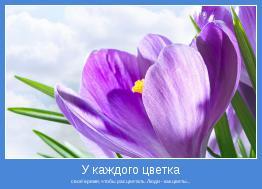 своё время, чтобы расцветать. Люди - как цветы...