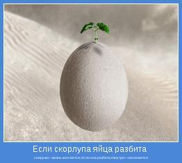 снаружи—жизнь кончается; если она разбита изнутри—начинается