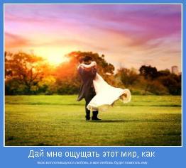 твою воплотившуюся любовь, и моя любовь будет помогать ему.