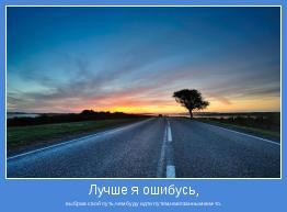 выбрав свой путь,чем буду идти путем,навязанным кем-то.