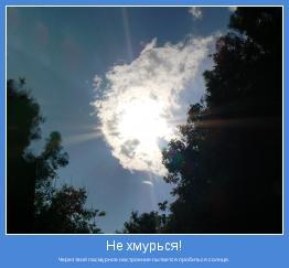 Через твоё пасмурное настроение пытается пробиться солнце.