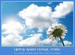 быть цветком, а человеку нужно любить, чтобы быть человеком