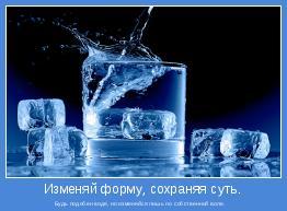 Будь подобен воде, но изменяйся лишь по собственной воле.