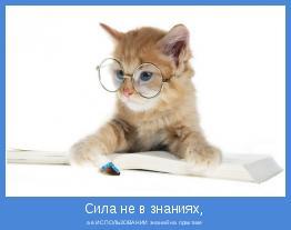 а в ИСПОЛЬЗОВАНИИ знаний на практике