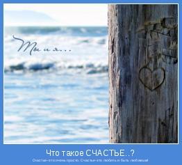 Счастье–это очень просто. Счастье-это любить и быть любимым!