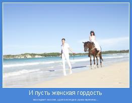восседает на коне, удила всегда в руках мужчины...