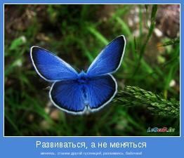 меняясь, станем другой гусеницей, развиваясь, бабочкой