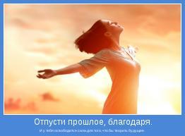 И у тебя освободится сила для того, что бы творить будущее.
