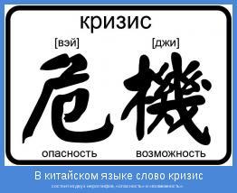 состоит из двух иероглифов, «опасность» и «возможность».